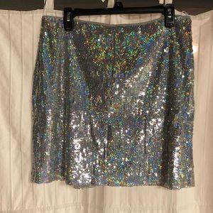 Silver sequin h&m mini skirt